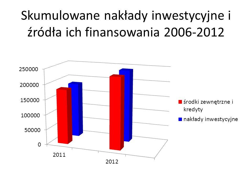 Skumulowane nakłady inwestycyjne i źródła ich finansowania 2006-2012