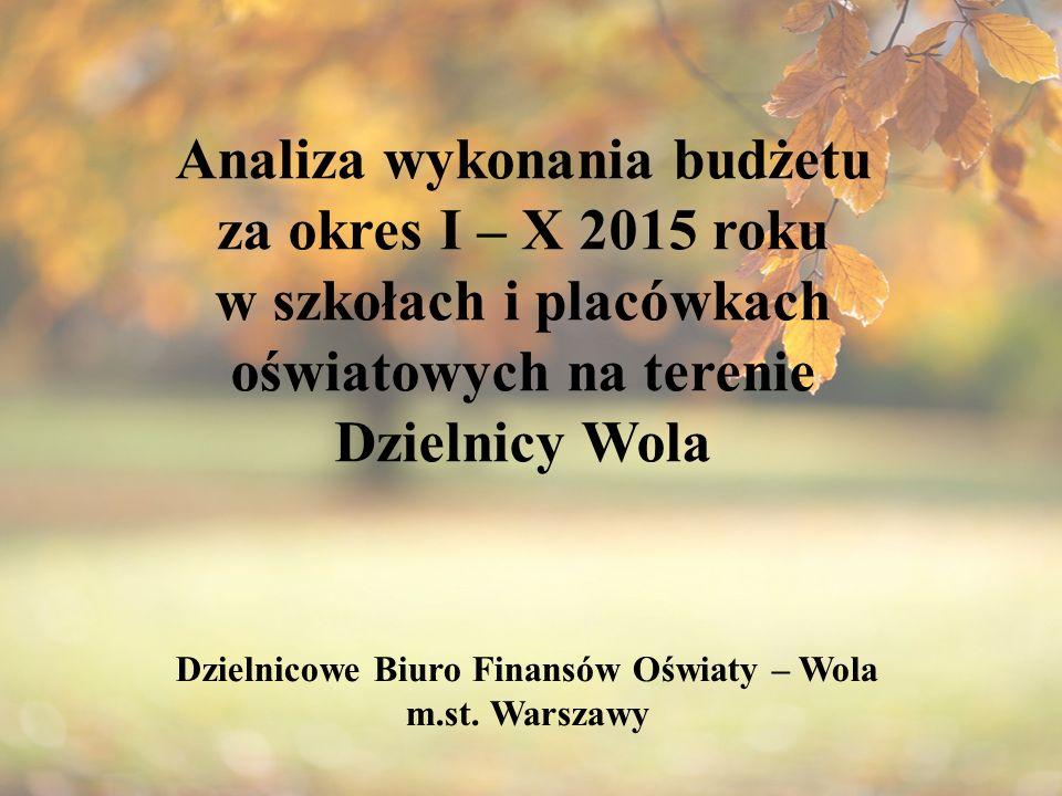 Analiza wykonania budżetu za okres I – X 2015 roku w szkołach i placówkach oświatowych na terenie Dzielnicy Wola Dzielnicowe Biuro Finansów Oświaty – Wola m.st.