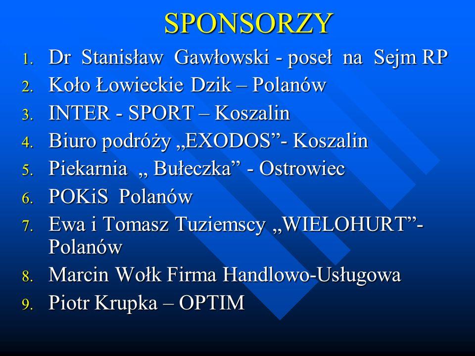 SPONSORZY 1.Dr 1. Dr Stanisław Gawłowski - poseł na Sejm RP 2.