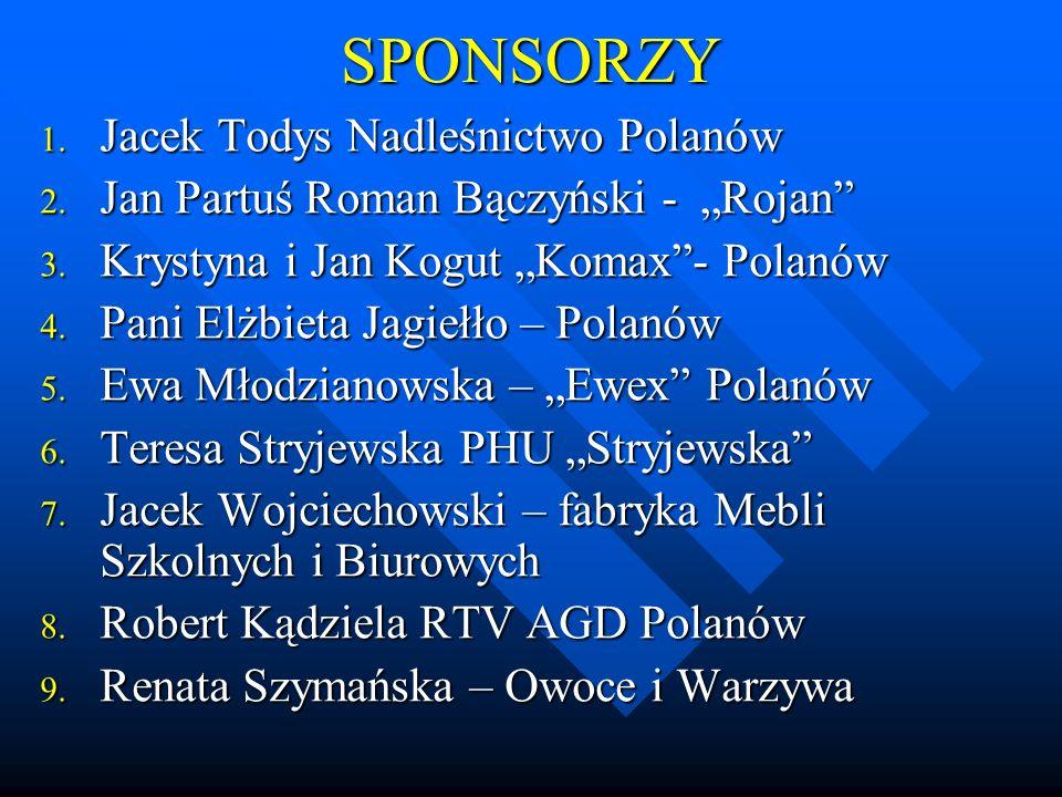 """SPONSORZY 1.Jacek Todys Nadleśnictwo Polanów 2. Jan Partuś Roman Bączyński - """"Rojan 3."""