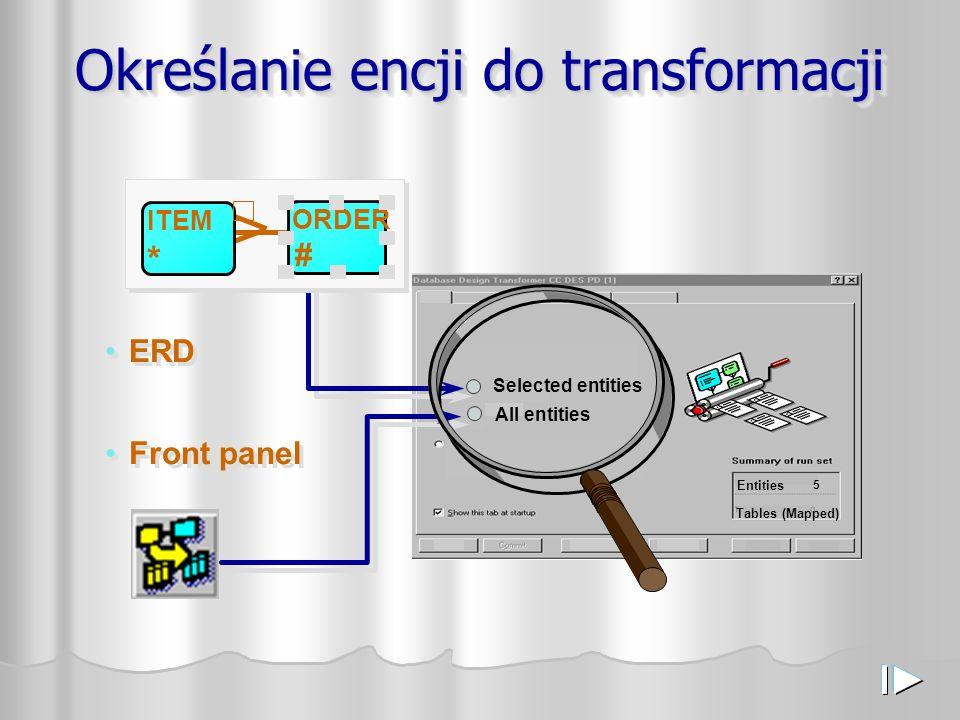Określanie encji do transformacji Entities 5 Tables (Mapped) All entities Selected entities ERD Front panel ITEM * ORDER #