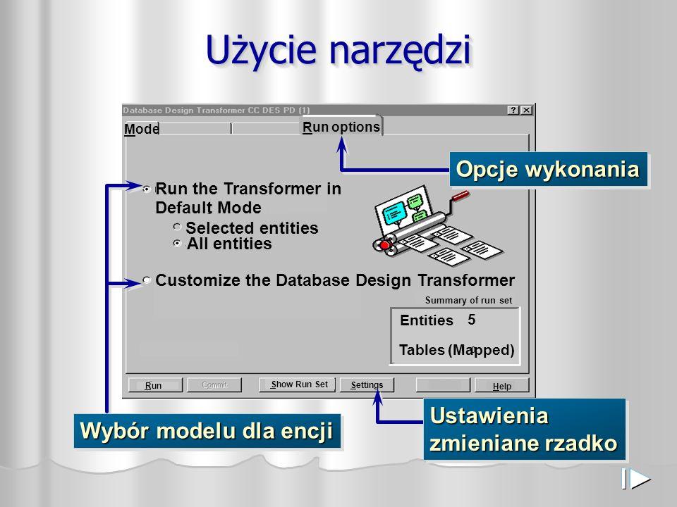 Użycie narzędzi Customize the Database Design Transformer Settings Run the Transformer in Default Mode Mode Run Help Show Run Set Selected entities Al