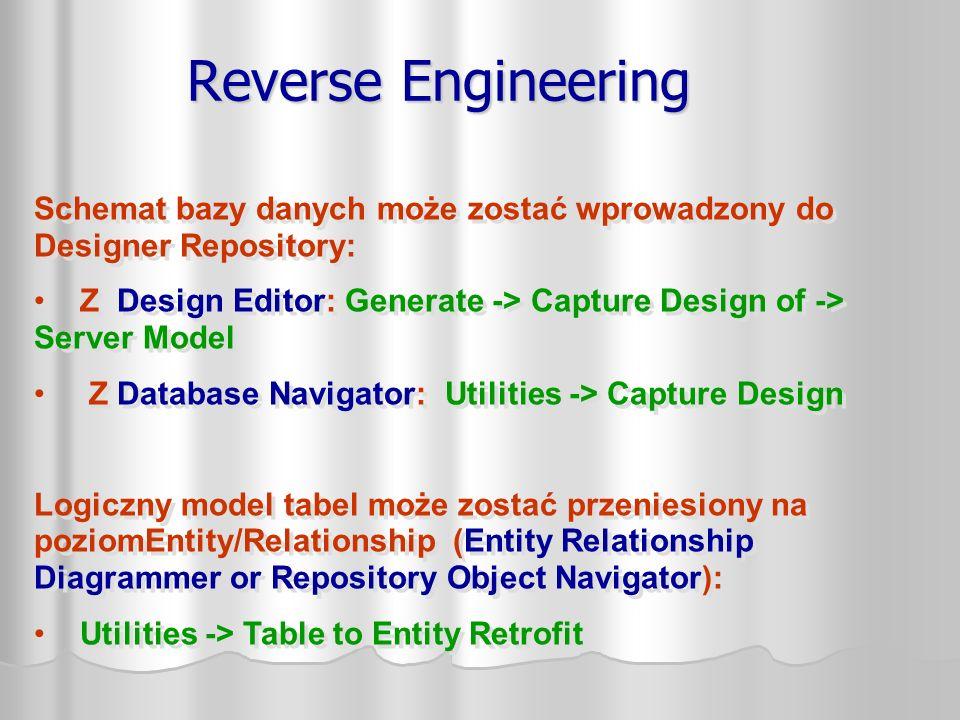 Reverse Engineering Schemat bazy danych może zostać wprowadzony do Designer Repository: Z Design Editor: Generate -> Capture Design of -> Server Model