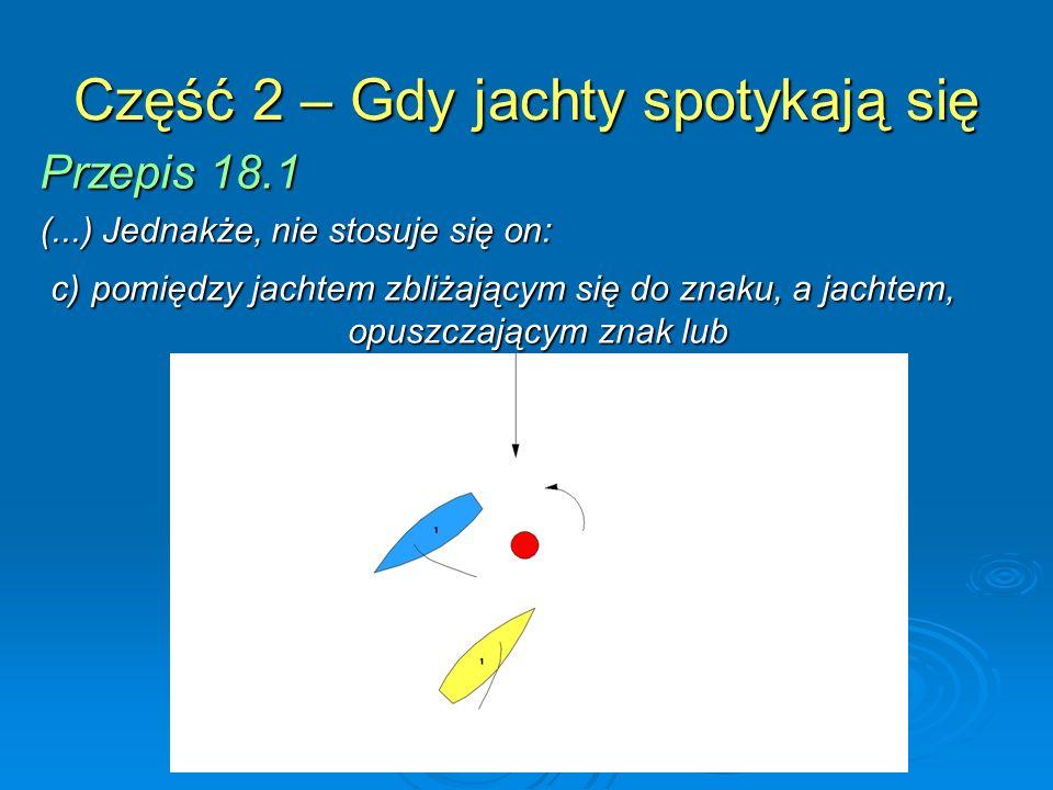 Część 2 – Gdy jachty spotykają się Przepis 18.1 (...) Jednakże, nie stosuje się on: d) jeżeli znakiem jest ciągnącą się przeszkoda, w którym to przypadku stosuje się przepis 19.