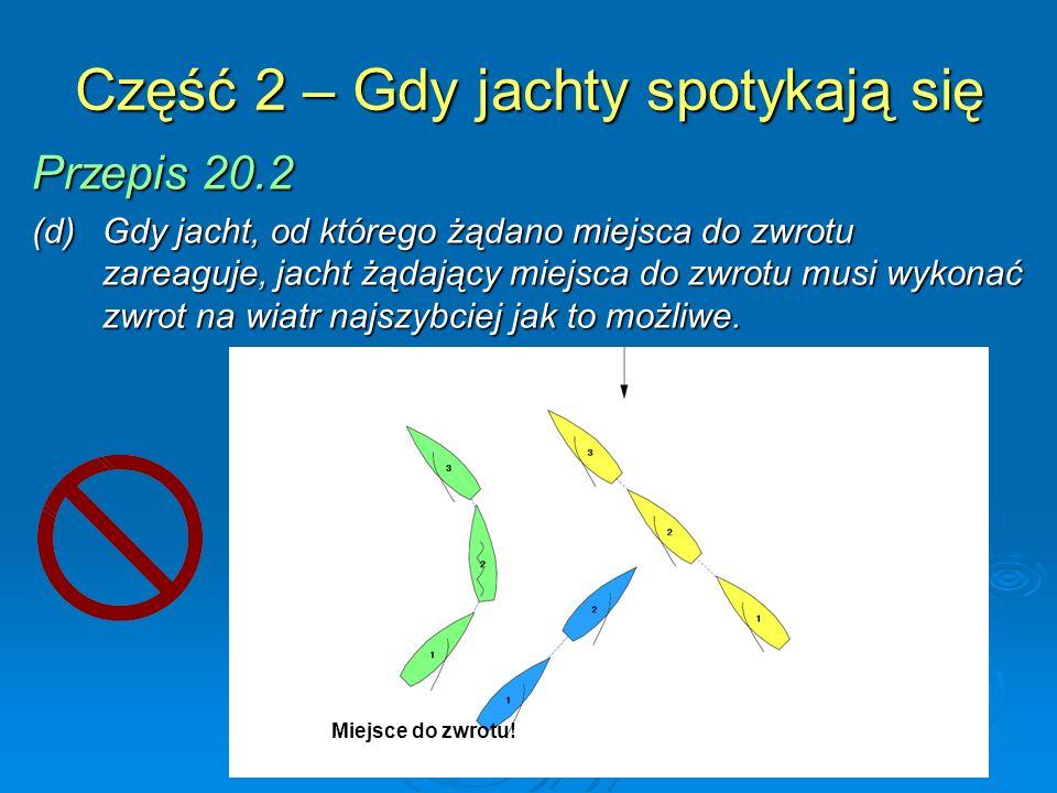 Część 2 – Gdy jachty spotykają się Przepis 20.2 (e) Od momentu, gdy jacht żąda miejsca do zwrotu, do chwili gdy wykona zwrot i uniknie jachtu, od którego żądał miejsca do zwrotu, przepis 18.2 nie ma między nimi zastosowania.