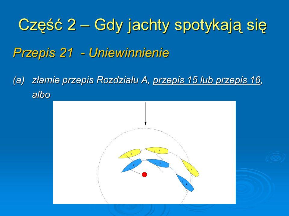 Część 2 – Gdy jachty spotykają się Przepis 21 - Uniewinnienie (b) jest zmuszony do złamania przepisu 31.