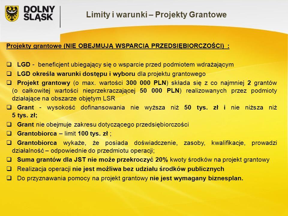 Projekty grantowe (NIE OBEJMUJĄ WSPARCIA PRZEDSIĘBIORCZOŚCI) :  LGD - beneficjent ubiegający się o wsparcie przed podmiotem wdrażającym  LGD określa warunki dostępu i wyboru dla projektu grantowego  Projekt grantowy (o max.