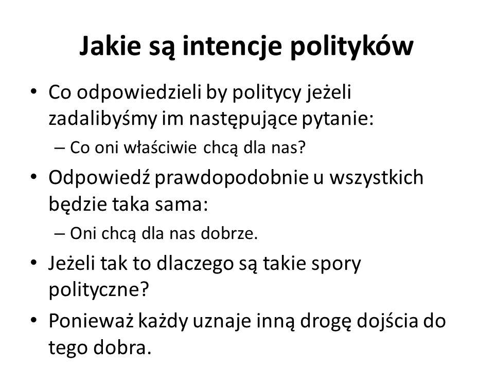 Jakie są intencje polityków Co odpowiedzieli by politycy jeżeli zadalibyśmy im następujące pytanie: – Co oni właściwie chcą dla nas? Odpowiedź prawdop
