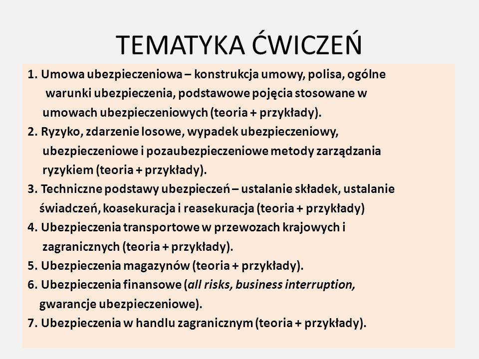 LITERATURA Obowiązkowa: 1.Marek Szczepański, Ubezpieczenia w logistyce, Wydawnictwo Politechniki Poznańskiej, Poznań 2011 2.