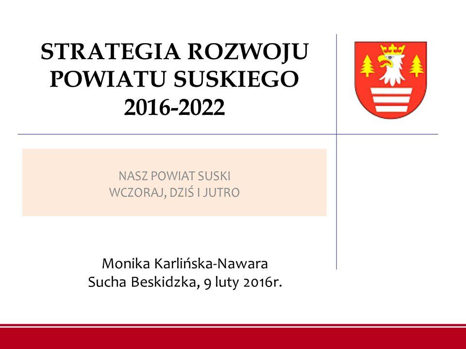 STRATEGIA ROZWOJU POWIATU SUSKIEGO 2016-2022 Monika Karlińska-Nawara Sucha Beskidzka, 9 luty 2016r.