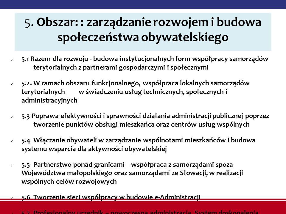 5. Obszar: : zarządzanie rozwojem i budowa społeczeństwa obywatelskiego 5.1 Razem dla rozwoju - budowa instytucjonalnych form współpracy samorządów te
