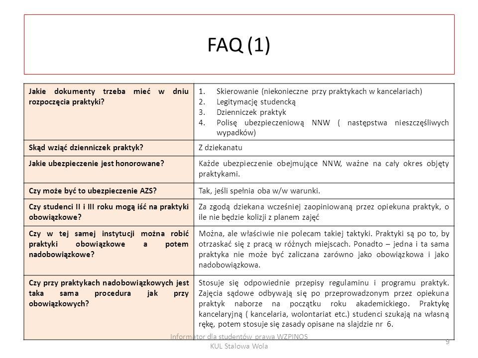 FAQ (2) Czy można odbywać praktyki obowiązkowe w innych instytucjach niż wymienione wcześniej.