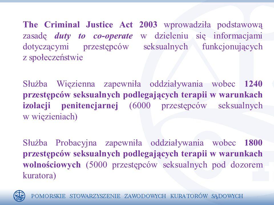 The Criminal Justice Act 2003 wprowadziła podstawową zasadę duty to co-operate w dzieleniu się informacjami dotyczącymi przestępców seksualnych funkcjonujących z społeczeństwie Służba Więzienna zapewniła oddziaływania wobec 1240 przestępców seksualnych podlegających terapii w warunkach izolacji penitencjarnej (6000 przestępców seksualnych w więzieniach) Służba Probacyjna zapewniła oddziaływania wobec 1800 przestępców seksualnych podlegających terapii w warunkach wolnościowych (5000 przestępców seksualnych pod dozorem kuratora)