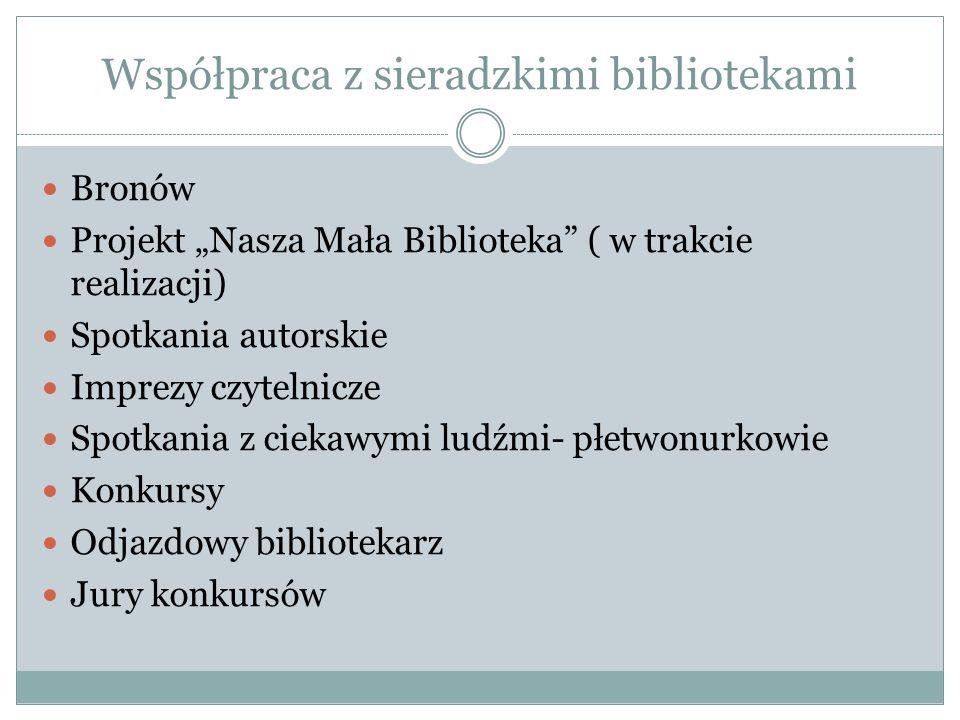 """Współpraca z sieradzkimi bibliotekami Bronów Projekt """"Nasza Mała Biblioteka"""" ( w trakcie realizacji) Spotkania autorskie Imprezy czytelnicze Spotkania"""