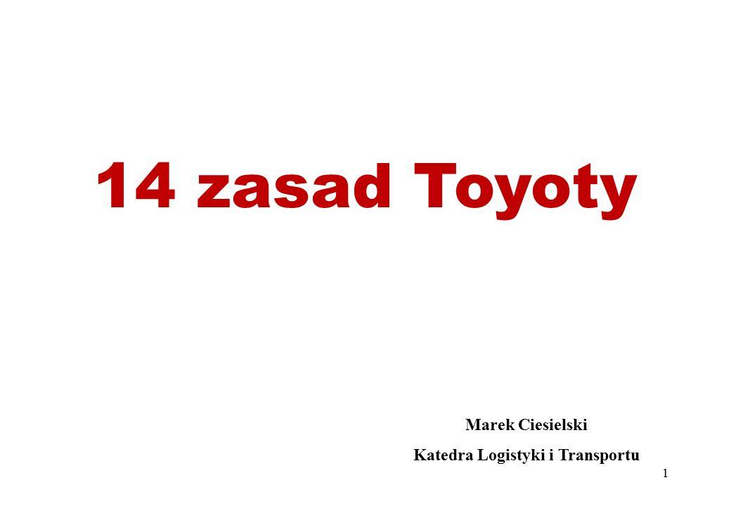 14 zasad Toyoty Marek Ciesielski Katedra Logistyki i Transportu 1