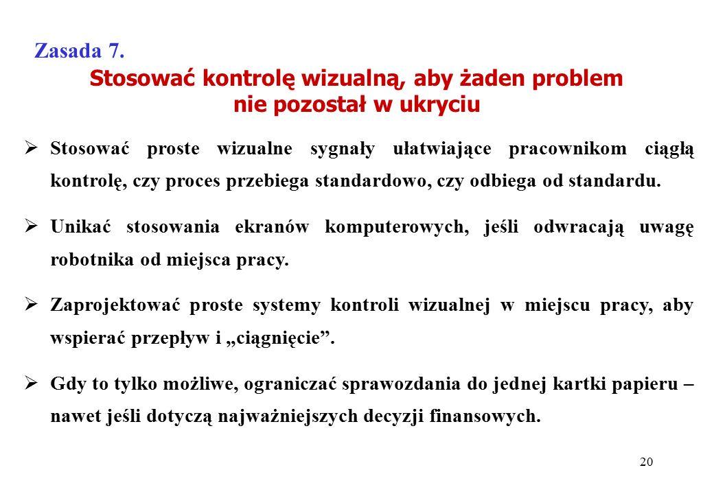 Stosować kontrolę wizualną, aby żaden problem nie pozostał w ukryciu Zasada 7.  Stosować proste wizualne sygnały ułatwiające pracownikom ciągłą kontr