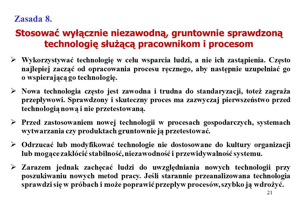 Stosować wyłącznie niezawodną, gruntownie sprawdzoną technologię służącą pracownikom i procesom Zasada 8.  Wykorzystywać technologię w celu wsparcia