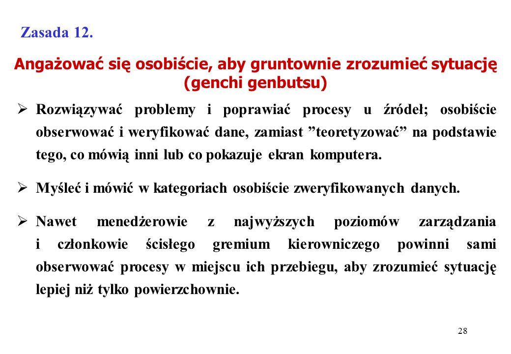Angażować się osobiście, aby gruntownie zrozumieć sytuację (genchi genbutsu) Zasada 12.