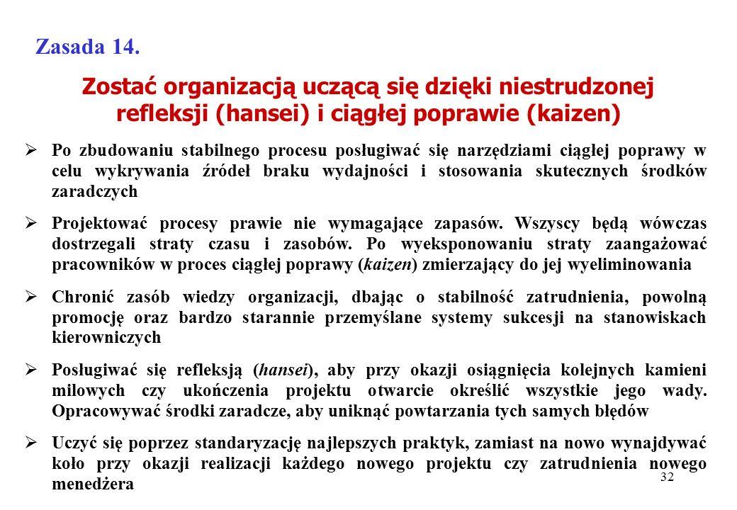 Zostać organizacją uczącą się dzięki niestrudzonej refleksji (hansei) i ciągłej poprawie (kaizen) Zasada 14.