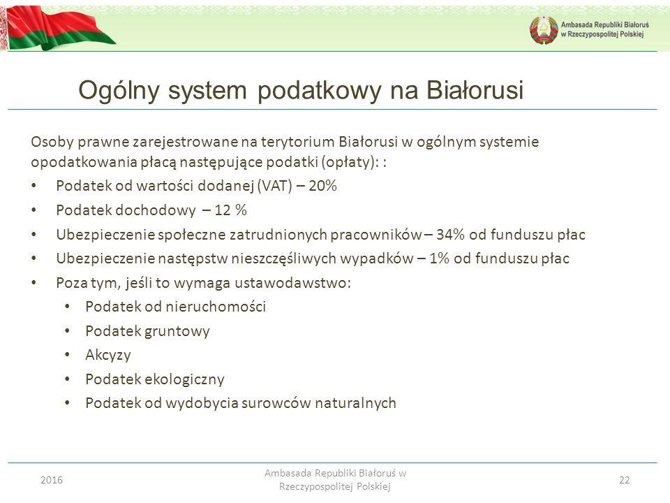Ogólny system podatkowy na Białorusi 222016 Ambasada Republiki Białoruś w Rzeczypospolitej Polskiej Osoby prawne zarejestrowane na terytorium Białorus