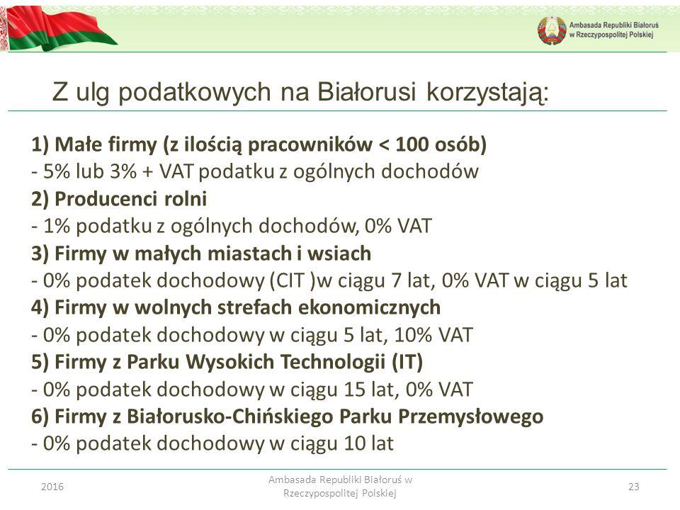 Z ulg podatkowych na Białorusi korzystają: 232016 Ambasada Republiki Białoruś w Rzeczypospolitej Polskiej 1) Małe firmy (z ilością pracowników < 100 o