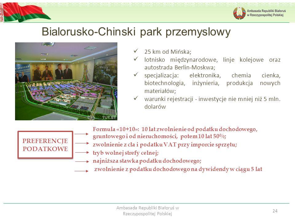 Bialorusko-Chinski park przemyslowy 24 Ambasada Republiki Białoruś w Rzeczypospolitej Polskiej 25 km od Mińska; lotnisko międzynarodowe, linje kolejow