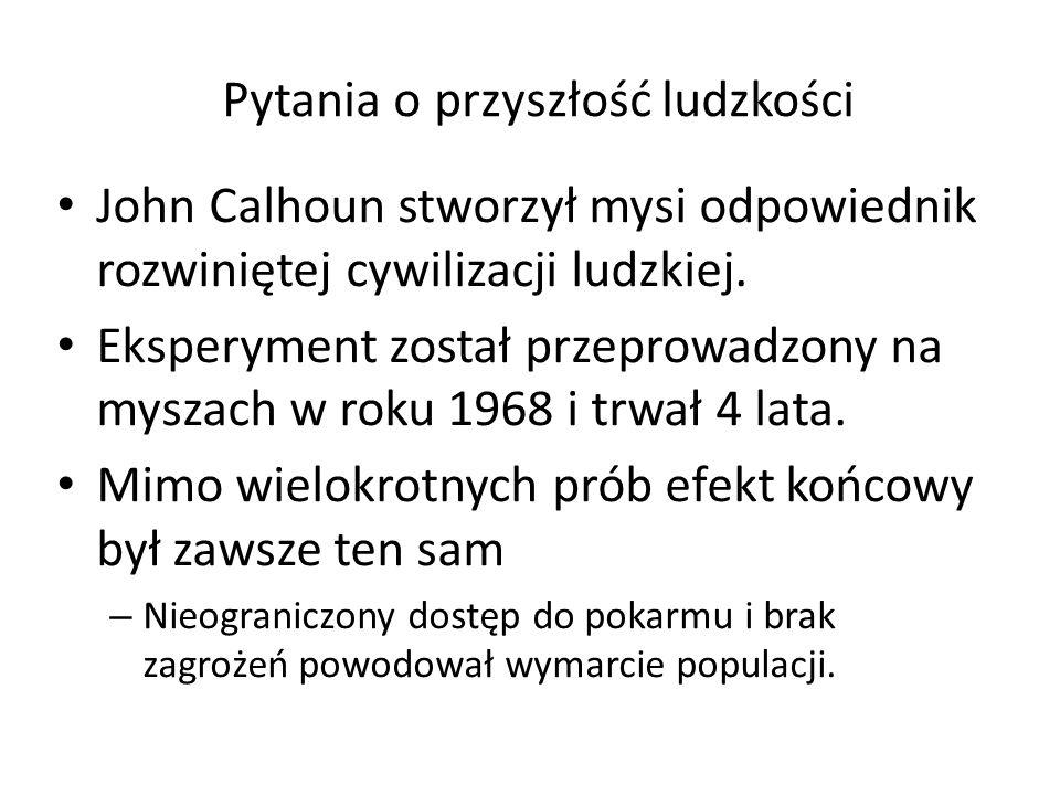 Pytania o przyszłość ludzkości John Calhoun stworzył mysi odpowiednik rozwiniętej cywilizacji ludzkiej.