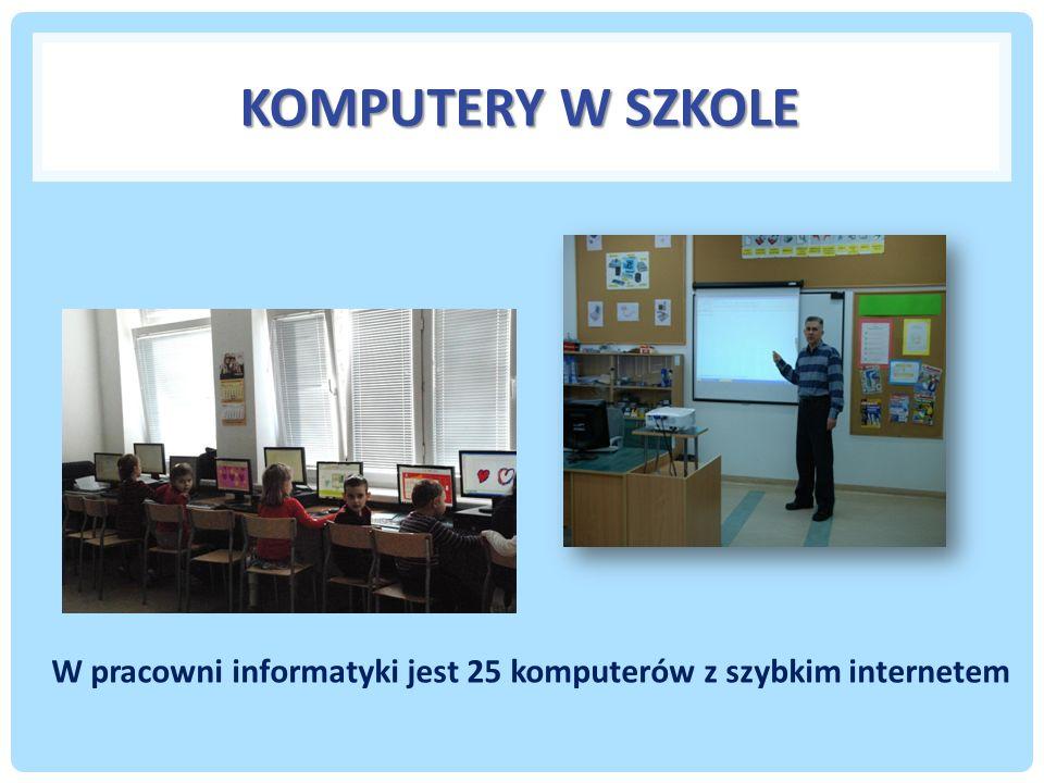 KOMPUTERY W SZKOLE W pracowni informatyki jest 25 komputerów z szybkim internetem