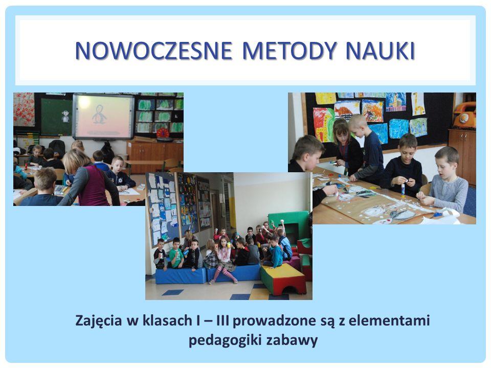 NOWOCZESNE METODY NAUKI Zajęcia w klasach I – III prowadzone są z elementami pedagogiki zabawy