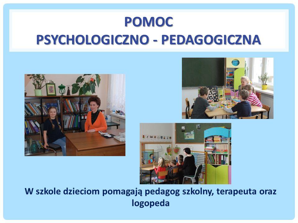 POMOC PSYCHOLOGICZNO - PEDAGOGICZNA W szkole dzieciom pomagają pedagog szkolny, terapeuta oraz logopeda