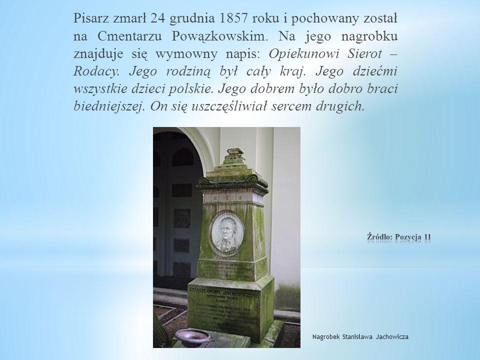 W 1857 roku, dla uczczenia 61 rocznicy urodzin Stanisława Jachowicza, bajkopisarza, pedagoga, filantropa, przyjaciela dzieci, Dzięki wysiłkom jego prz