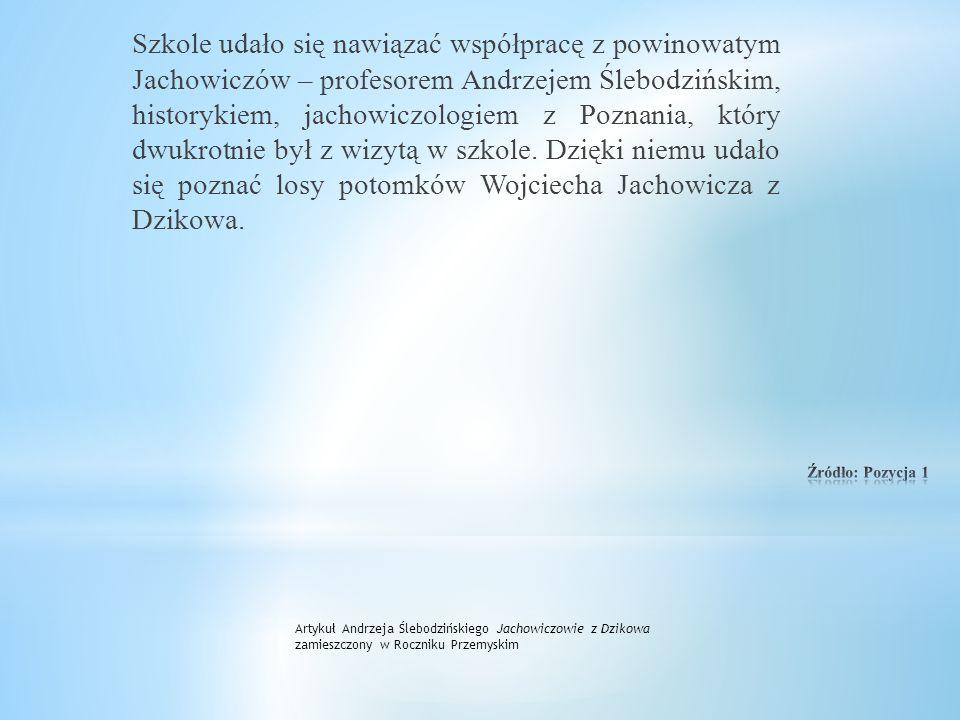 """Rok później pani Maria Pałkus podjęła się z uczniami realizacji projektu edukacyjnego """"Stanisław Jachowicz – bajkopisarz… i nie tylko"""" w celu populary"""