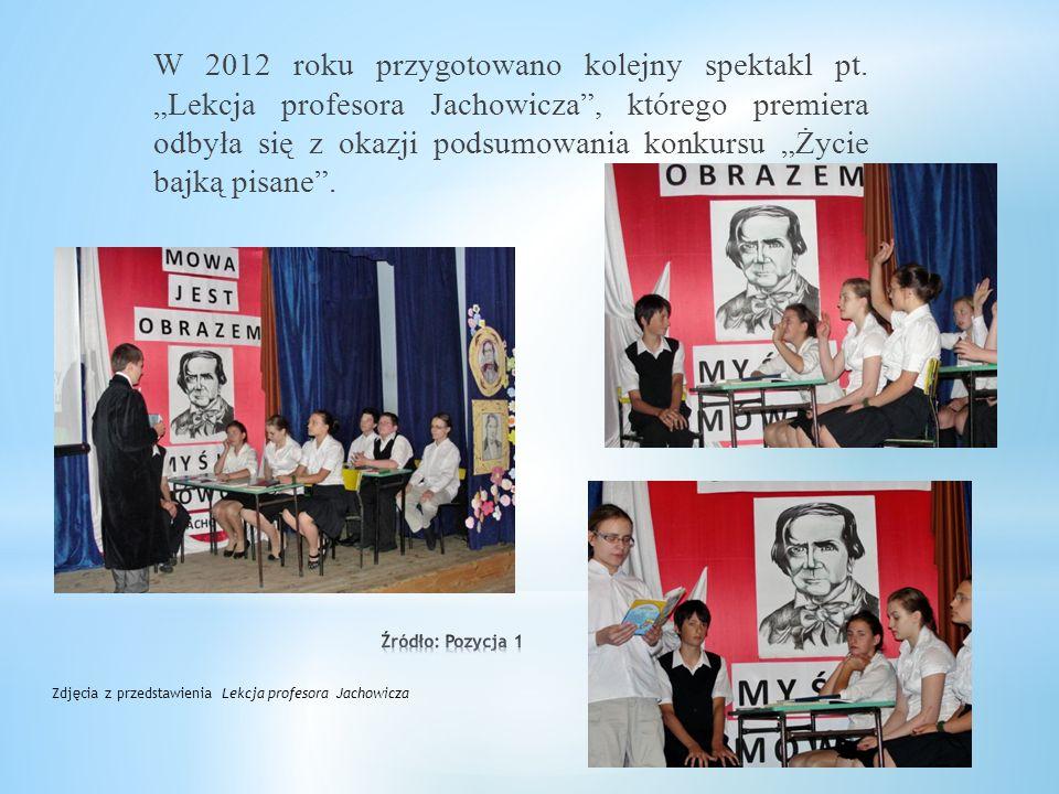 """W 2009 roku uczniowie Gimnazjum nr 1 mogli obejrzeć spektakl """"Dzień urodzin"""" w reżyserii pani Marii Pałkus, przygotowany w ramach projektu """"Wokół Wień"""