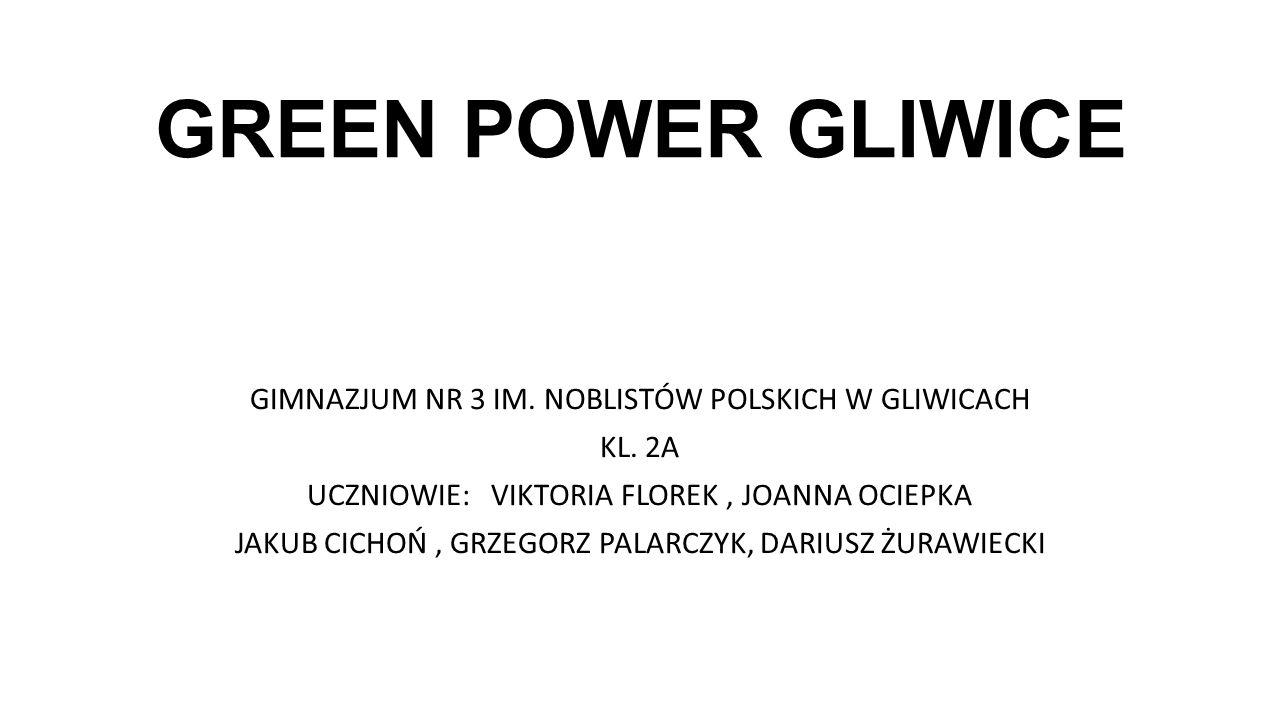 GREEN POWER GLIWICE GIMNAZJUM NR 3 IM. NOBLISTÓW POLSKICH W GLIWICACH KL. 2A UCZNIOWIE: VIKTORIA FLOREK, JOANNA OCIEPKA JAKUB CICHOŃ, GRZEGORZ PALARCZ