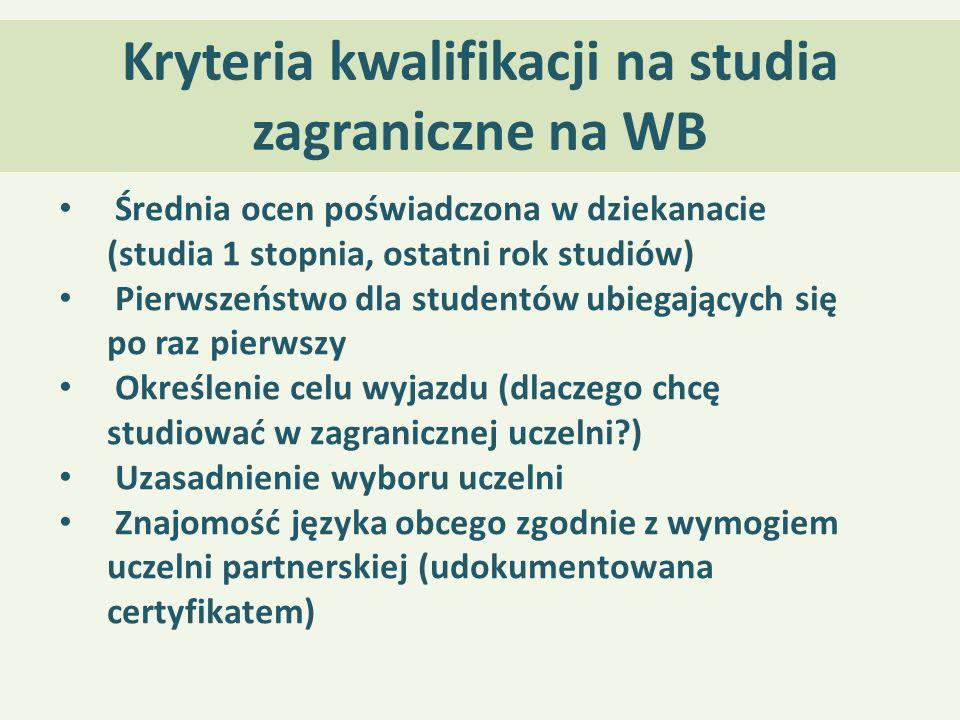 Kryteria kwalifikacji na studia zagraniczne na WB Średnia ocen poświadczona w dziekanacie (studia 1 stopnia, ostatni rok studiów) Pierwszeństwo dla st