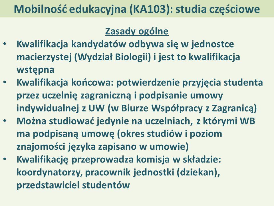 Mobilność edukacyjna (KA103): studia częściowe Zasady ogólne Kwalifikacja kandydatów odbywa się w jednostce macierzystej (Wydział Biologii) i jest to kwalifikacja wstępna Kwalifikacja końcowa: potwierdzenie przyjęcia studenta przez uczelnię zagraniczną i podpisanie umowy indywidualnej z UW (w Biurze Współpracy z Zagranicą) Można studiować jedynie na uczelniach, z którymi WB ma podpisaną umowę (okres studiów i poziom znajomości języka zapisano w umowie) Kwalifikację przeprowadza komisja w składzie: koordynatorzy, pracownik jednostki (dziekan), przedstawiciel studentów