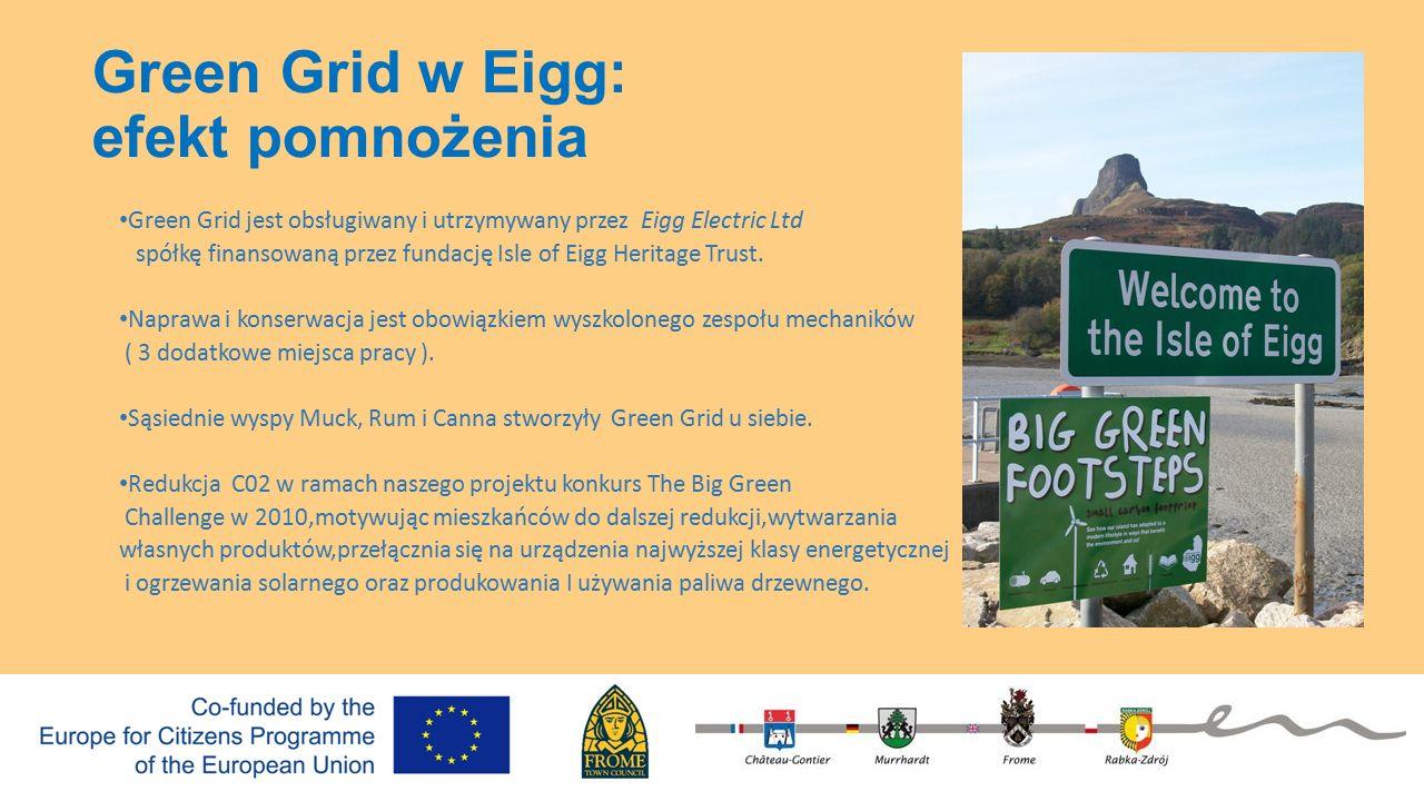Green Grid w Eigg: efekt pomnożenia Green Grid jest obsługiwany i utrzymywany przez Eigg Electric Ltd spółkę finansowaną przez fundację Isle of Eigg Heritage Trust.