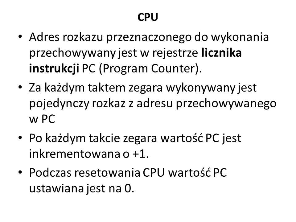 CPU Adres rozkazu przeznaczonego do wykonania przechowywany jest w rejestrze licznika instrukcji PC (Program Counter).