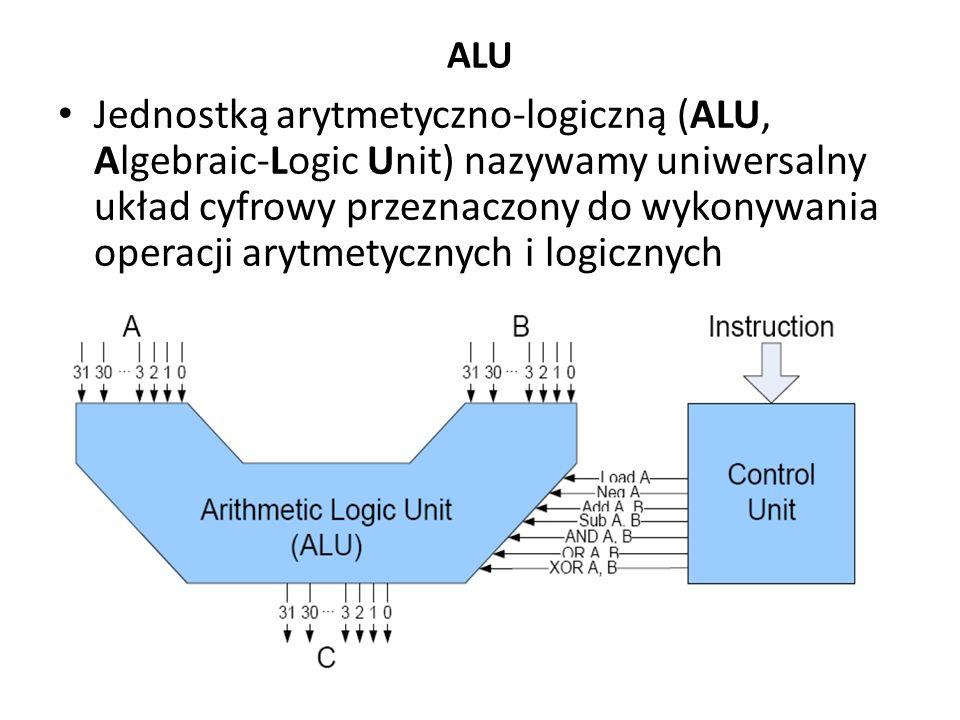 ALU Jednostką arytmetyczno-logiczną (ALU, Algebraic-Logic Unit) nazywamy uniwersalny układ cyfrowy przeznaczony do wykonywania operacji arytmetycznych i logicznych