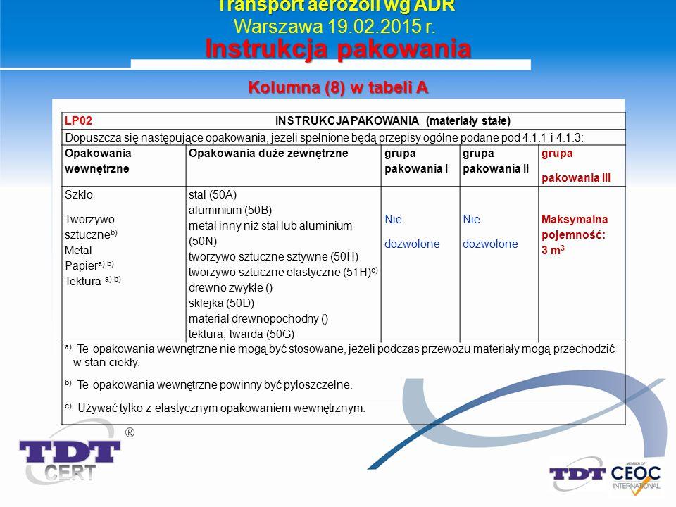 Transport aerozoli wg ADR Warszawa 19.02.2015 r. Instrukcja pakowania Kolumna (8) w tabeli A LP02 INSTRUKCJA PAKOWANIA (materiały stałe) Dopuszcza się