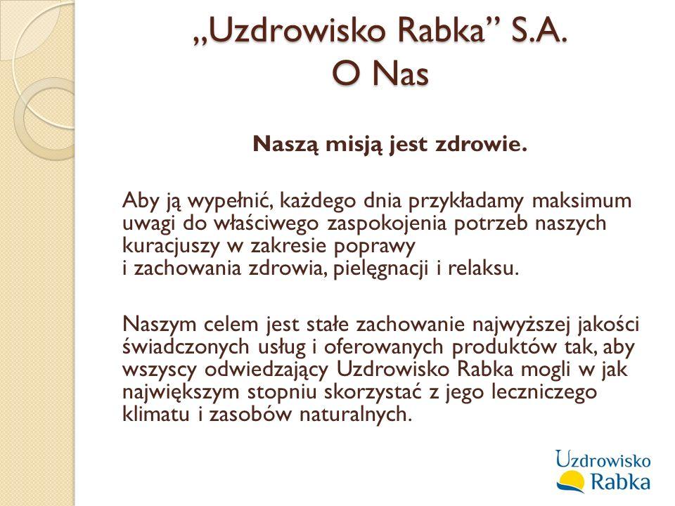 """W skład """"Uzdrowiska Rabka S.A.wchodzi: Zakład Przyrodoleczniczy – tzw."""