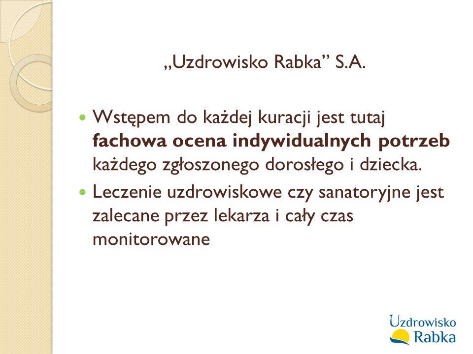 """""""Uzdrowisko Rabka"""" S.A. Wstępem do każdej kuracji jest tutaj fachowa ocena indywidualnych potrzeb każdego zgłoszonego dorosłego i dziecka. Leczenie uz"""