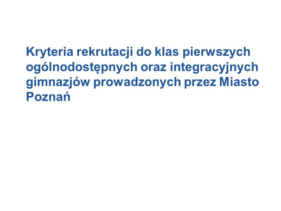 Kryteria rekrutacji do klas pierwszych ogólnodostępnych oraz integracyjnych gimnazjów prowadzonych przez Miasto Poznań