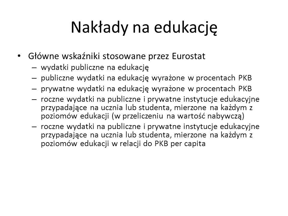 Nakłady na edukację Główne wskaźniki stosowane przez Eurostat – wydatki publiczne na edukację – publiczne wydatki na edukację wyrażone w procentach PKB – prywatne wydatki na edukację wyrażone w procentach PKB – roczne wydatki na publiczne i prywatne instytucje edukacyjne przypadające na ucznia lub studenta, mierzone na każdym z poziomów edukacji (w przeliczeniu na wartość nabywczą) – roczne wydatki na publiczne i prywatne instytucje edukacyjne przypadające na ucznia lub studenta, mierzone na każdym z poziomów edukacji w relacji do PKB per capita