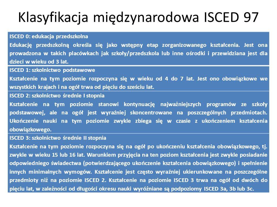 Klasyfikacja międzynarodowa ISCED 97 ISCED 0: edukacja przedszkolna Edukację przedszkolną określa się jako wstępny etap zorganizowanego kształcenia.