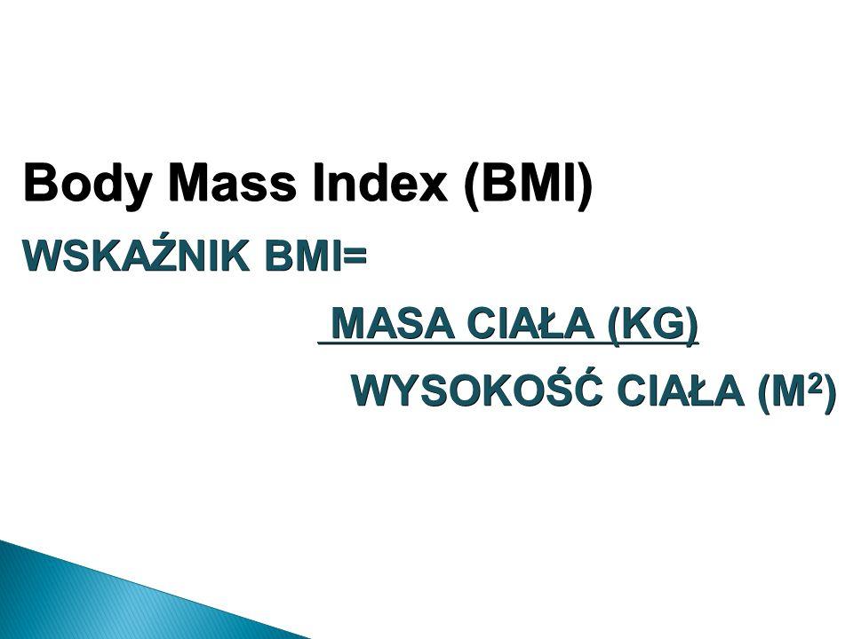 Body Mass Index (BMI) WSKAŹNIK BMI= MASA CIAŁA (KG) MASA CIAŁA (KG) WYSOKOŚĆ CIAŁA (M 2 )