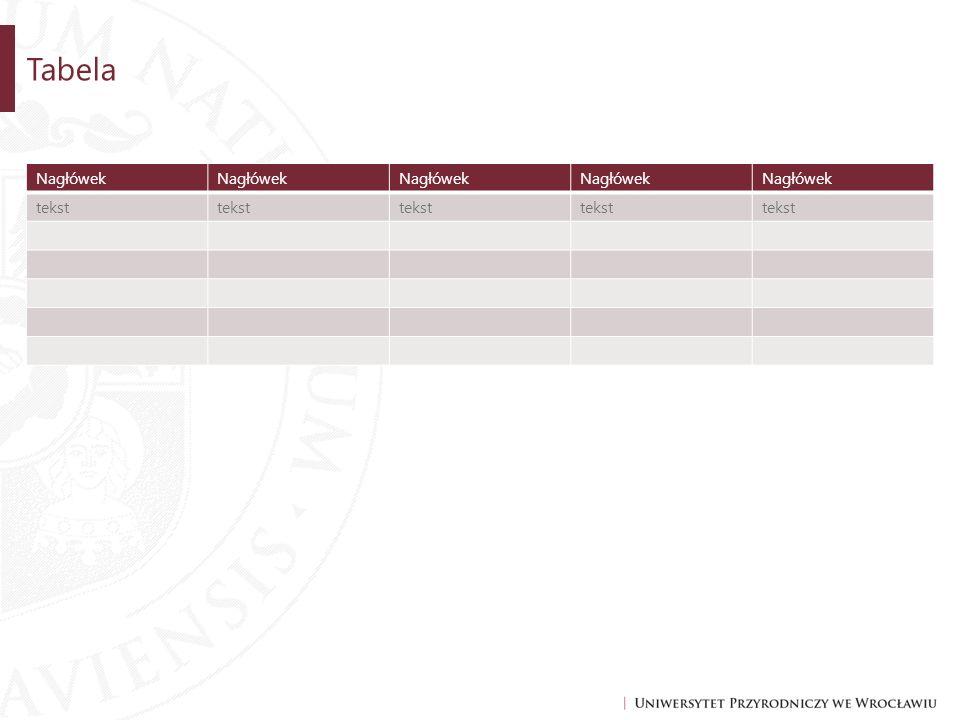 Tabela Nagłówek tekst
