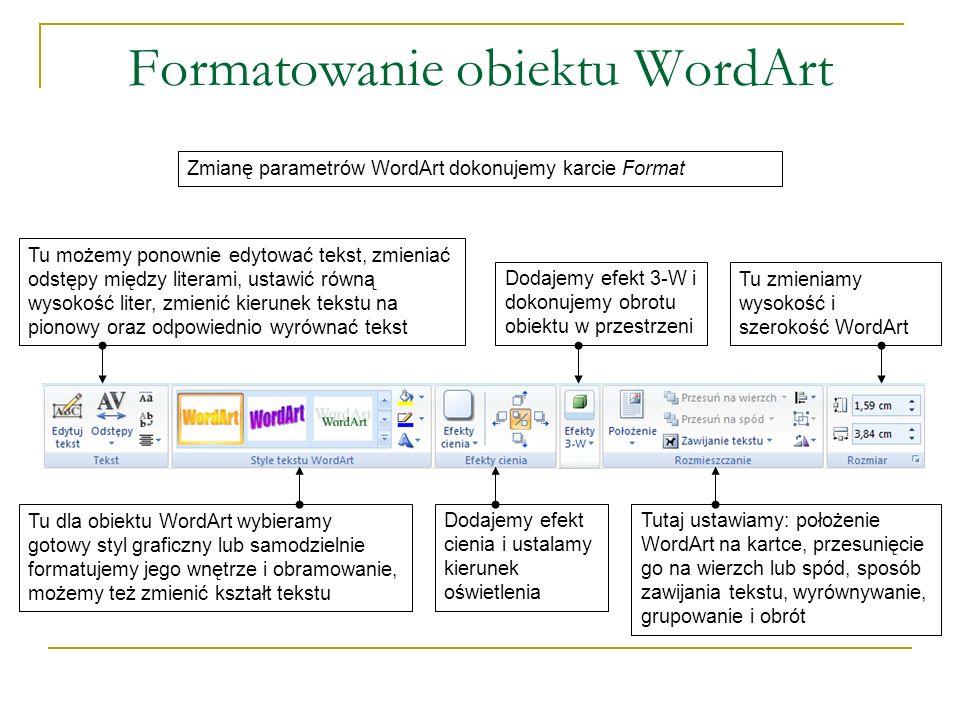 Formatowanie obiektu WordArt Zmianę parametrów WordArt dokonujemy karcie Format Tu dla obiektu WordArt wybieramy gotowy styl graficzny lub samodzielni