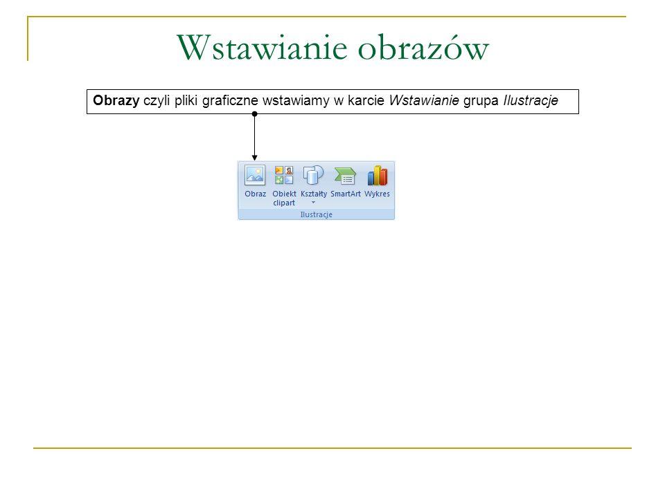 Formatowanie obiektu WordArt Zmianę parametrów WordArt dokonujemy karcie Format Tu dla obiektu WordArt wybieramy gotowy styl graficzny lub samodzielnie formatujemy jego wnętrze i obramowanie, możemy też zmienić kształt tekstu Tu możemy ponownie edytować tekst, zmieniać odstępy między literami, ustawić równą wysokość liter, zmienić kierunek tekstu na pionowy oraz odpowiednio wyrównać tekst Tutaj ustawiamy: położenie WordArt na kartce, przesunięcie go na wierzch lub spód, sposób zawijania tekstu, wyrównywanie, grupowanie i obrót Dodajemy efekt 3-W i dokonujemy obrotu obiektu w przestrzeni Dodajemy efekt cienia i ustalamy kierunek oświetlenia Tu zmieniamy wysokość i szerokość WordArt