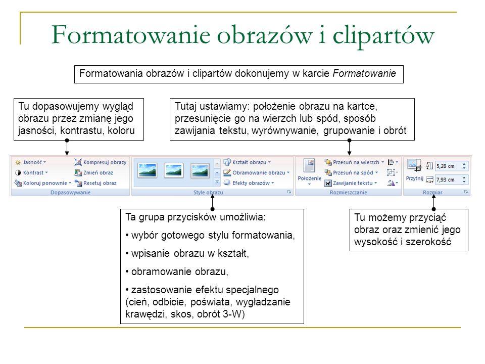 Formatowanie obrazów i clipartów Formatowania obrazów i clipartów dokonujemy w karcie Formatowanie Tu dopasowujemy wygląd obrazu przez zmianę jego jas